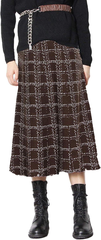 CHARTOU Women's Casual Elastic Waist Plaid A-line Pleated Long Tassel Flare Midi Skirt