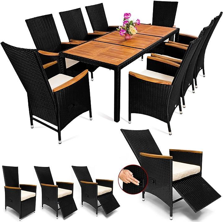 mobili da giardino in poli rattan schienale e poggiapiedi regolabili 8 sedie + 1 tavolo deuba 990994