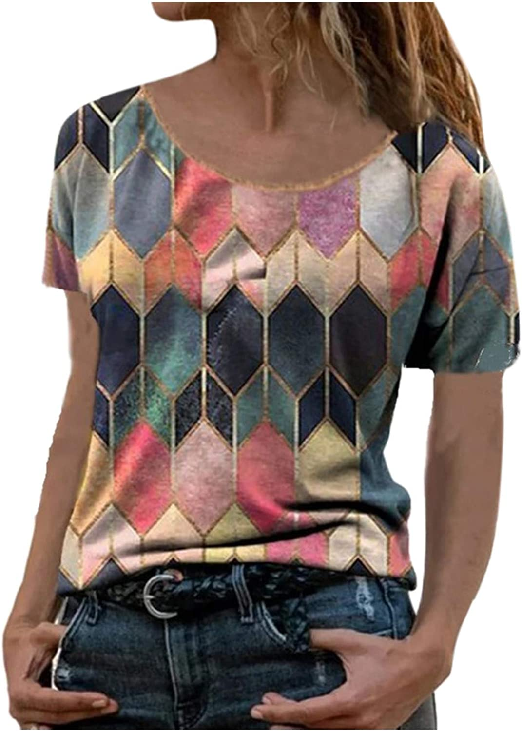 Forwelly Plus Size T Shirt for Women,2021 New Print Tee Short Sleeve O Neck Top Blouse Summer Pullover Shirt