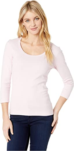 100% Cotton Heritage Knit 3/4 Sleeve Scoop Neck