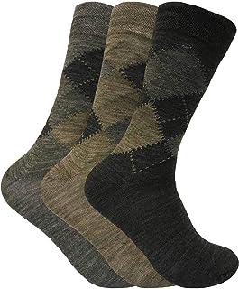 3 Pack Mens Thin Warn Lambs Wool Blend Argyle Patterned Dress Business Socks