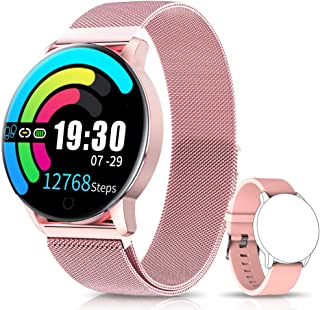 NAIXUES Smartwatch Reloj Inteligente IP67 con Presión Arterial 10 Modos de Deporte Pulsómetro Monitor de Sueño Notificaciones Inteligentes Smartwatch Hombre Mujer para iOS y Android (Rosa)