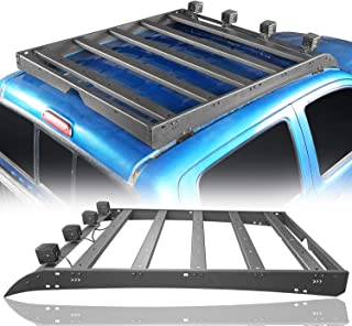 Hooke Road Top Roof Rack Buggage Carrier Carrier w / 4x چراغ های LED برای 2/3 Gen Toyota Tacoma 2005-2019 (4 درب)
