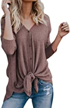 iTLOTL Womens Loose Knit Tunic Blouse Tie Knot Henley Tops Bat Wing Plain Shirts