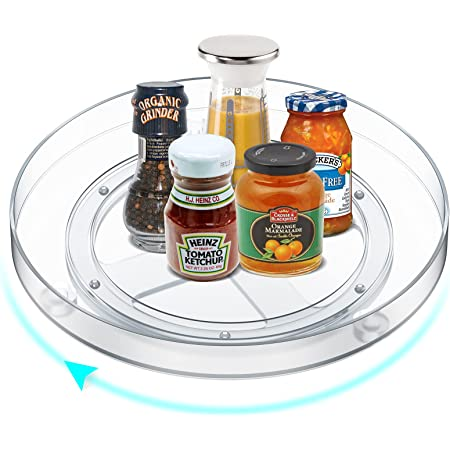 MeCids Grand organisateur de placard Lazy Susan - Organisateur de cuisine à plateau tournant à 360° - Bacs de rangement transparents – Multifonction: porte épices, aliments, articles salle de bain