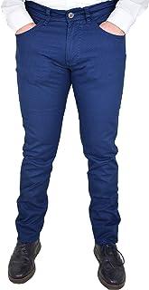a8a4cebde13d39 Guy Pantaloni da Uomo in Cotone Elasticizzati Estivi Slim Fit Modello Jeans  a Fantasia Blu Taglie