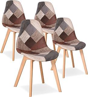 Uderkiny Juego de 4 sillas Silla de Comedor de Retazos Silla de Estilo nórdico para Cocina Comedor Sala de Estar y Restaur...