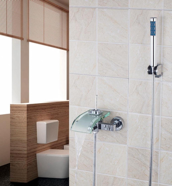 Galvanik Retro Wasserhahn 8207 B 4 Klarglas Auswurfkrümmer Einhebelsteuerung Dual Control Modern Chrom Wand montiert mit Dusche mit abnehmbarem Duschkopf tippen Sie auf Mischpult Wasserhahn, Multi