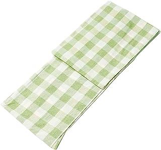 KYOETSU Women's Japanese Hitoe Kimono Washable Cotton Blend (XX-Large, Green × Grid Pattern)