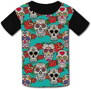 Youth Unisex Kids Short Sleeve Day of Death Skulls Rose Printed Summer Novelty T-Shirts Tees for Children Boys Girls