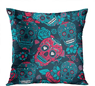 Llsty Throw Pillow Cover Polyester Print Day Dead Colorful Sugar Skull Floral Skull Sugar Mexican Day Dead Art Soft Square for Couch Sofa Bedroom Pillowcase Home Style Cushion Case 16 x 16 Inch