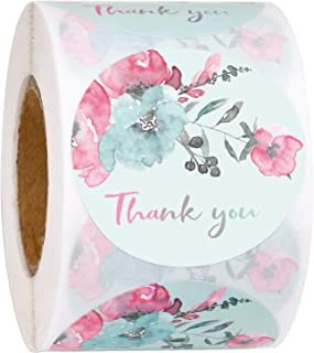 BIOBROWN Thank You Shipping Stickers Pink Flower Painting Gift Wrap Stickers, Business Stickers 2 x 2 Inch-500 Total Labels