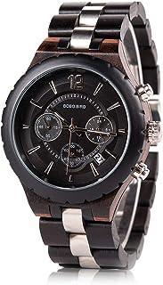BOBO BIRD Mens Luxury Stylish Wooden Watches Date & Chronograph Military Quartz Timepieces