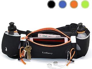 LotFancy - Cinturón de hidratación para Correr (2 Botellas de Agua sin BPA, Unisex, cómodo y Transpirable, el Mejor compañero para maratón, Correr, Ciclismo, Escalada, Camping y más)