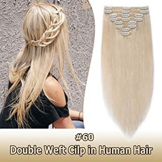 Double Weft Thick Clip in Human Hair Extensions #60 Platinum Blonde 24 Inch 8pcs 18 clips on 8A Grade Soft Straight 100% Remy Hair (24