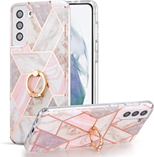 DEFBSC Samsung Galaxy S21 Plus 5G Marble Case with Ring Kickstand, Marble Design 360 Degree Rotating Ring Kickstand Soft T...