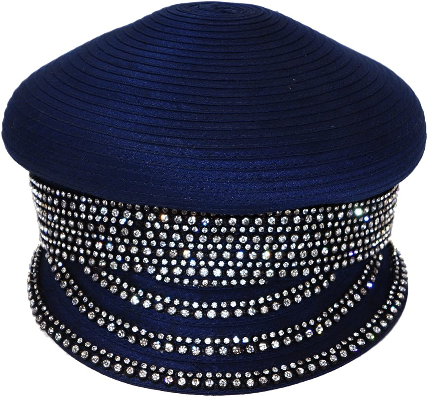 June's Young Ladies Church Hat Women Stones High Quality Army Style Royal bluee