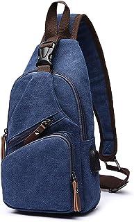 FANDARE Brusttasche Herren Schultertasche Sling Bag Rucksack mit USB Segeltuch Tasche Umhängetasche Sporttasche für Wandern,Abenteuer,Sport, Reisen und Joggen