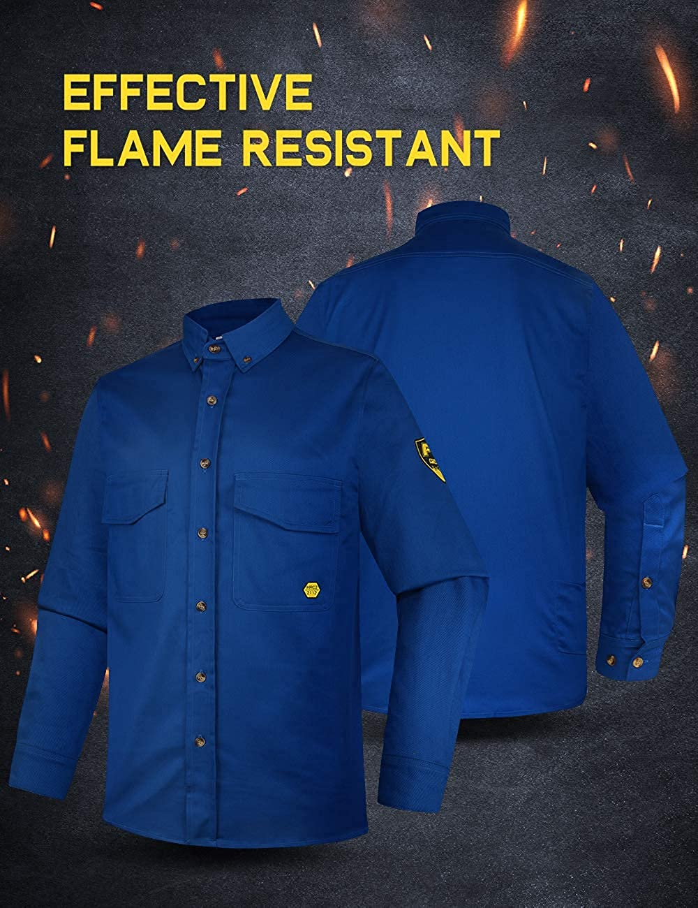 PTAHDUS 7.5oz Men's Flame Resistant Button Down Shirt, Men Mid-Weight Twill FR Work Shirt Ideal for Welding and Oil Worker
