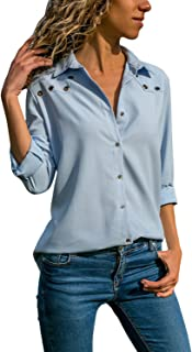 ad4f9a3349f Sidefeel Women Button Up Long Sleeve Blouse Casual Top T-Shirt