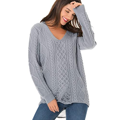 8166f70a01 clasichic Women s Long Sleeve V Neck Ripped Hole Casual Loose Oversized  Knit Sweater Pullover Tops (