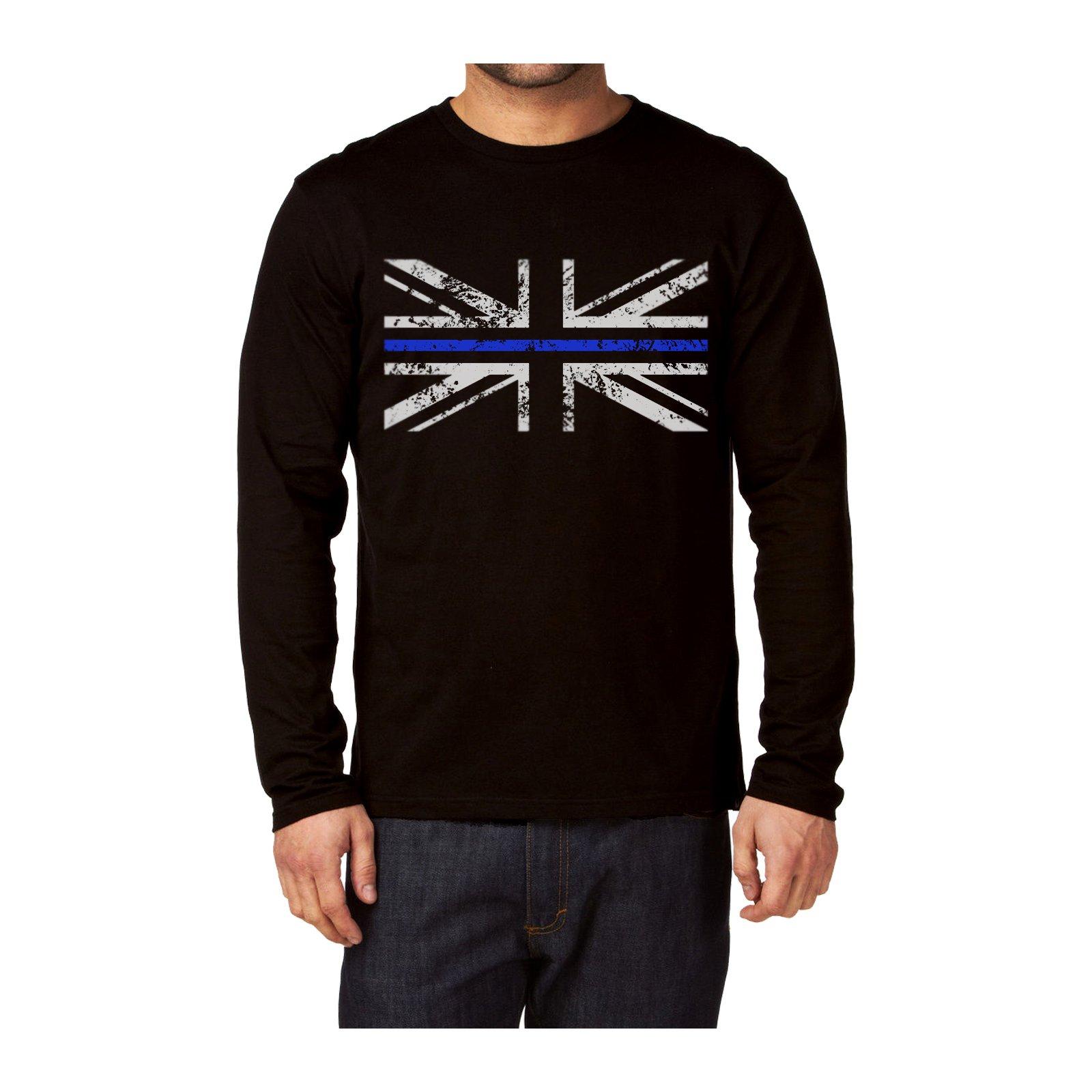 Delgada línea azul Policía Union Jack Camiseta de manga larga, algodón, negro, Small: Amazon.es: Ropa y accesorios