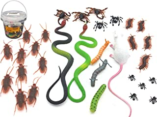 Guaishou Fake Realistic Rubber Snake Prank Cockroach Plastic Roaches Mouse Fly Flies Bug Spider Caterpillar Novelty Joke Toys Party Favorite Trick Toys Tricky Brains (Pack of 31pcs)