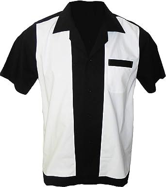 Rockabilly Fashions Camisa Casual Hombre Retro Bowling Collar Clásico Negro Blanco