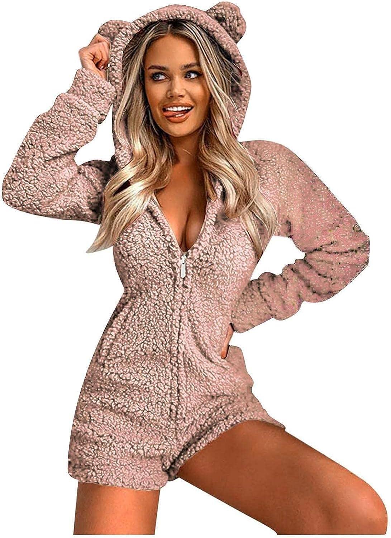 Women's Cute Pajama Set Cat Ear Hoodies Long Sleeve Jumpsuit Shorts Solid Pocket Zipper Romper Soft Sleepwear