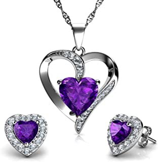 DEPHINI - Purple Heart Necklace & Heart Earrings Set - 925 Sterling Silver - Crystal Studs & Pendant Birthstone- Fine Jewe...