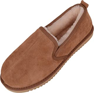 SNUGRUGS Men's Sheepskin Slipper with Lightweight Flexible Sole, Chestnut Brown