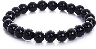 【京珠堂】上質 AAAA 魔除け 厄除け 漆黒 黒水晶 モリオン カンゴーム パワーストーン ブレスレット (8mm, 16)