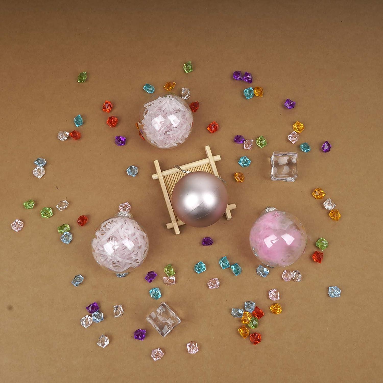Babigo 60mm//2.36 Christmas Ball Ornaments with Stuffed Delicate Decorations Decorative Clear Plastic Xmas Balls Baubles Set Black, 60mm//2.36
