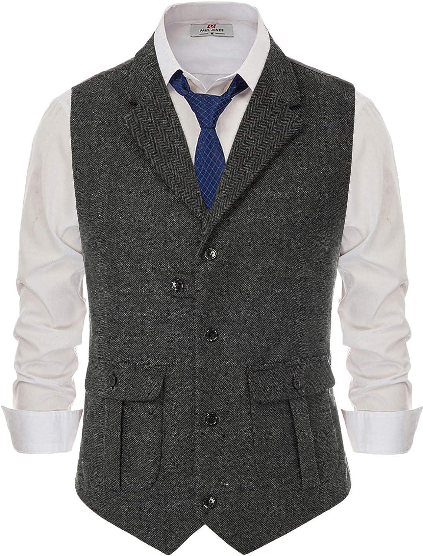 Mens Vintage Herringbone Tweed Waistcoat Tailored Collar Wool Blend Suit Vest