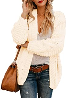 Arainlo Womens Casual Open Front Long Sleeve Chunky Knit Cardigan Sweater Loose Outwear Coat