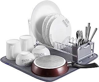 comprar comparacion Kingrack Escurreplatos compacto de aluminio con alfombrilla de microfibra para secado, soporte para vasos y soporte para u...