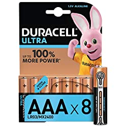 Duracell Ultra AAA Alkaline Batteries, 1.5 V LR03 MN2400, Pack of 8