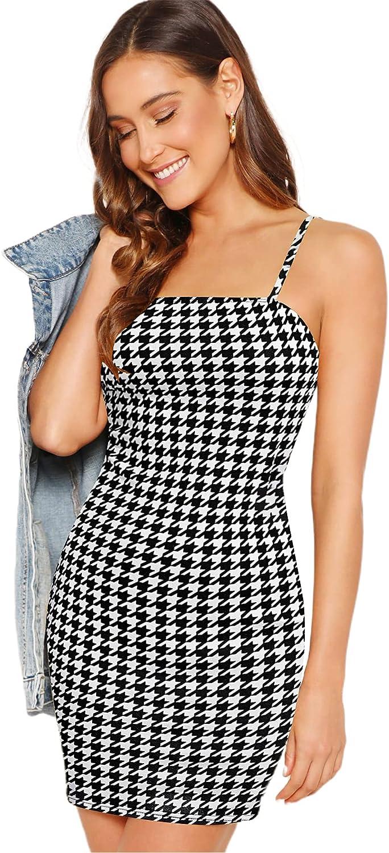 SheIn Women's Sleeveless Straps Cami Dress Bodycon Split Hem Rib Knit Mini Dress