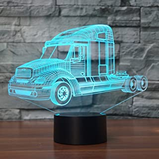 3D Truck Tractor Car lamp Night Light Touch Table Desk Optical Illusion Lamps 7 Color Changing Lights Home Decoration Xmas Birthday Gift