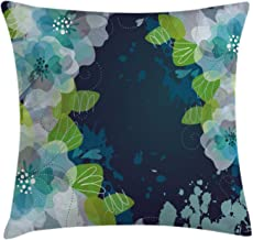 Ambesonne Navy Throw Pillow Cushion Cover, Sketchy Abstract Blossoms Flowers with Leaves on Grunge Backdrop, Decorative Square Accent Pillow Case, 16 X 16, Green Navy