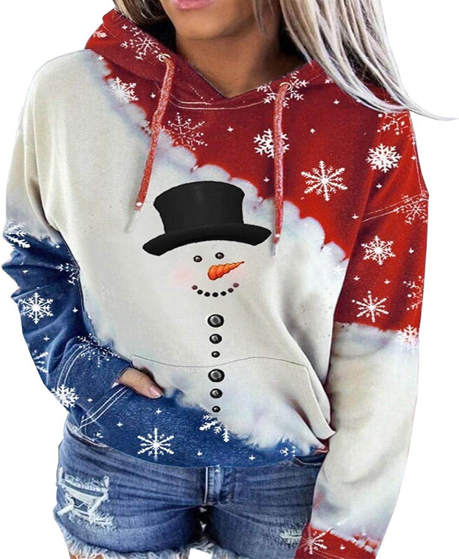 Kinsaiy Hoodies Inventory cleanup Dealing full price reduction selling sale Sweatshirts Women Snowman Block Color Christmas