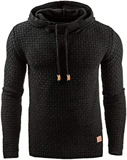 Sponsored Ad - Zaitun Mens Hooded Sweatshirt Long Sleeve Solid Knitted Hoodie Pullover Sweater