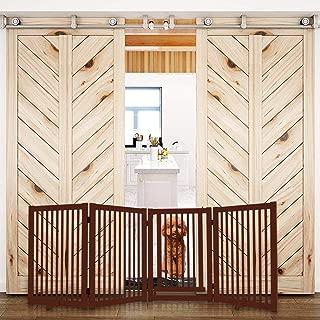 WELLAND Freestanding Wood Pet Gate w/Walk Through Door Cherry, 88-Inch Width, 32-Inch Height (Set of Support Feet Included)