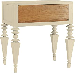 Asta Solid Wood 1-Drawer Nightstand, Side Table, Glam Collection, GG-201/BGE (Beige)