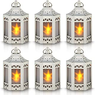 Mini Star Lantern with Flickering LED,Battery Included,Decorative Hanging Lantern,Christmas Decorative Lantern,Indoor Candle Lantern,Battery Lantern Indoor Use,Zkee(Set of 6,Silver)