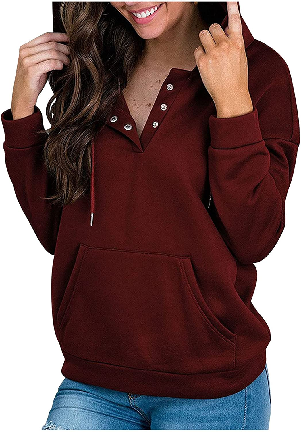 Women's Fashion Hoodies Sweatshirts V-Neck Solid Hooded Pullover Casual Pocket Long Sleeve T-Shirts Tops