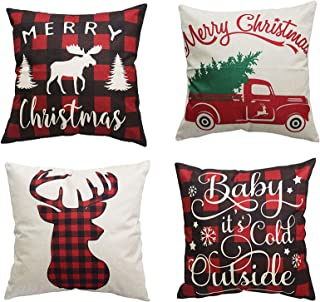 Best PSDWETS Merry Christmas and Christmas Tree Decorations Cotton Linen Winter Deer Pillow Covers Set of 4 Christmas Decor Throw Pillow Covers Cushion Cover 18 X 18 Review
