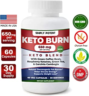 Keto Diet Pills, Weight Loss Keto Pills w/Raspberry Ketone, Garcinia Combogia, Green Tea & Coffee Supplement to Burn Fat & Lose Wt, Enhance Energy & Focus, Buy Risk Free 30 Day Full Refund Guaranteed