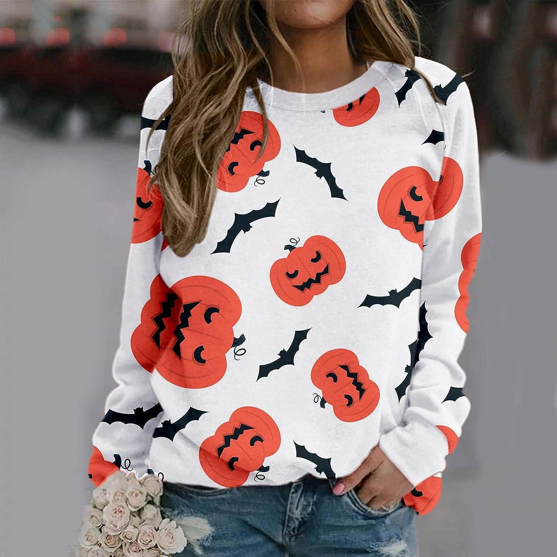FABIURT Sweatshirt for Women,Woman's Crewneck Halloween Bat Print Vintage Graphic Long Sleeve Pullover Tops Tee Shirts
