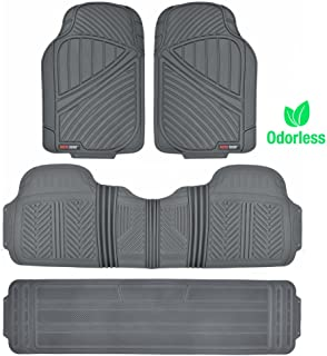Motor Trend MT-773-801-BG FlexTough, Durable and Flexible Rubber Car SUV Van Floor Mats 3 Rows, Odorless Eco Clean Liners, Extra-High Ridgeline Design (Gray)